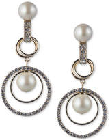 Carolee Gold-Tone Imitation Pearl & Pavé Orbital Drop Earrings