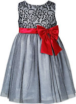 Sweet Heart Rose Girls Dress, Little Girls Bow-Sash Lace-to-Tulle Dress