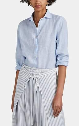 Barneys New York Women's Slub Linen Western Shirt - Blue