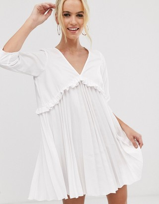 ASOS DESIGN pleated smock mini dress