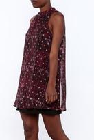 En Creme Mock Neck Printed Dress