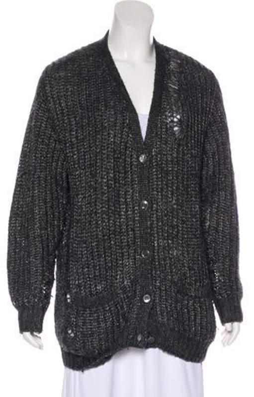 Saint Laurent Distressed Knit Cardigan Grey Distressed Knit Cardigan