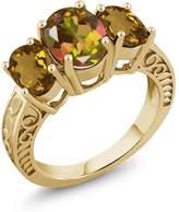 Gem Stone King 3.20 Ct Mango Mystic Topaz Whiskey Quartz 18K Yellow Gold Plated Silver Ring