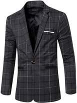 jeansian Men's Fashion Plaid Lapel Blazer Suit Jacket Outerwear Tops 9526 L