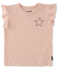 Nununu Girls' Flutter-Sleeve Embroidered Star Tee - Little Kid, Big Kid