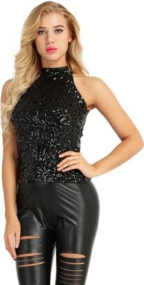 Freebily Women Shimmer Glam Sequin Embellished Sparkle Turtleneck Mock Neck Tank Top Vest Blue Halter Neck One Size