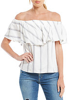 WAYF Sidney Striped Ruffle Off-the-Shoulder Blouse