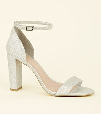 New Look Wide Fit Glitter Block Heels