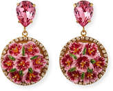 Dolce & Gabbana Floral Disc-Drop Earrings, Pink