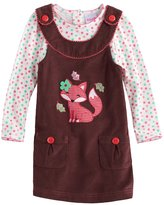 Nannette Toddler Girl Fox Applique Corduroy Jumper & Polka-Dot Tee Set