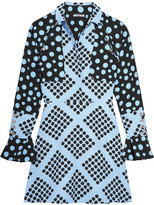 House of Holland Spotlight Polka-dot Crepe Mini Dress - Blue