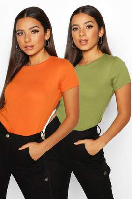 boohoo 2 Pack Crew Neck 100% Cotton T-Shirts
