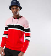 Asos Tall Ribbed Jumper In Red And Pink Stripe