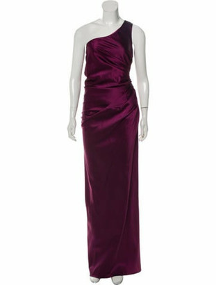 Lanvin One-Shoulder Ruched Gown Purple