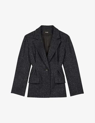 Maje Varri wool-blend checked blazer