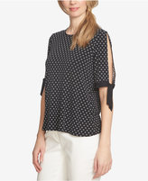 CeCe Stencil Foulard Printed Slit-Sleeve Blouse