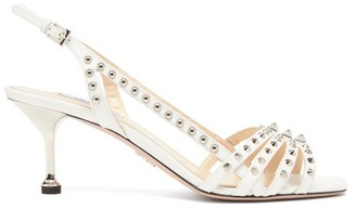 Prada Studded Leather Slingback Sandals - Womens - White