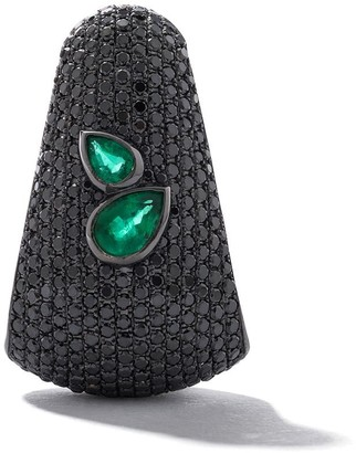As 29 18kt black gold Bombee diamond and emerald single earring