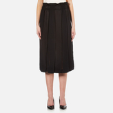 DKNY Women's Paneled Skirt with Hidden Drawcord Black