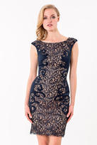 Terani Couture 1523C1100A Lace Embellished Bateau Sheath Dress
