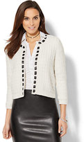New York & Co. 7th Avenue Design Studio - Braided Faux-Leather Lurex Cardigan