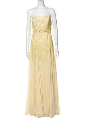 Halston Strapless Long Dress w/ Tags Yellow