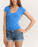 Stretch Knit Scoop Neck Tee