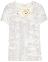 Lanvin Embellished Sequined Jersey Top - Off-white