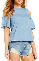 Rossmore by PPLA Hana Cold-Shoulder Chambray Peasant Top
