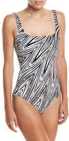 Gottex Star-Leopard Square-Neck One-Piece Swimsuit