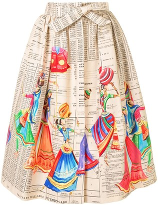 Stella Jean Hand-Painted Midi Skirt
