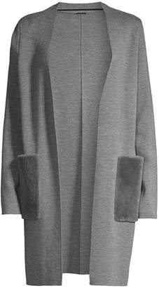 Elie Tahari Amora Rabbit Fur Pocket & Merino Wool Long Cardigan