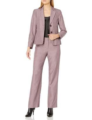 Le Suit Lesuit LeSuit Women's 2 Button Notch Collar Cross DYE Novelty Pant Suit