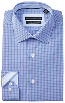 Report Collection Long Sleeve Slim Fit Stretch Check Dress Shirt