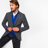 Paul Smith Men's Tailored-Fit Grey And Blue Mini-Check Unlined Wool-Blend Blazer