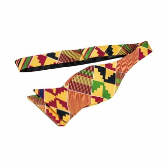 Tausi Men's Self-Tie Kente Cloth Print Bow Tie Set 100% Silk (Adjustable Butterfly