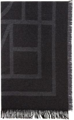 Totême Black Wool Como Scarf