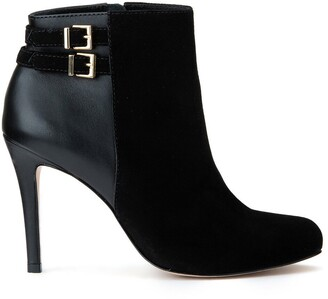 Cosmo Paris Janu Leather Pointed Boots with Buckle Detail