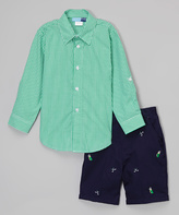Good Lad Green Gingham Button-Up & Golf Shorts - Boys