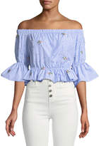 Romeo & Juliet Couture Floral-Embroidered Striped Crop Blouse