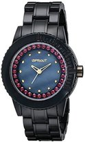 Sprout Women's ST/6506JMPR Black Corn Resin Purple Swarovski Elements Bracelet Watch