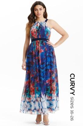 Little Mistress Curvy Multi Print Belted Chiffon Maxi Dress