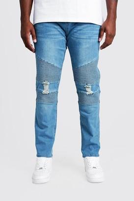 boohoo Mens Plus Size Mid Blue Biker Detail Skinny Fit Jean, Blue