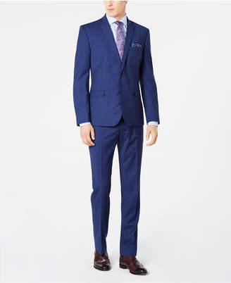 Nick Graham Men Slim-Fit Stretch Bright Blue Check Suit