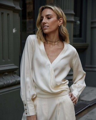 The Drop Women's Ecru Draped Pleated Cross-Front Volume-Sleeve Button Down Shirt by @lisadnyc XS