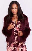 MUMU One Oak Crop Jacket ~ Ruby Red Faux Fur