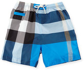 Burberry Saxon Check Swim Trunks, Cerulean Blue, Size 6M-3
