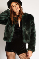 Forever 21 FOREVER 21+ Collarless Faux Fur Jacket