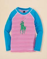 Ralph Lauren Girls' Big Pony Stripe Rash Guard - Sizes 2-6X