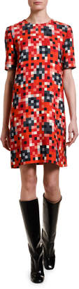 Marni Pixel-Pattern Short-Sleeve Tunic Dress